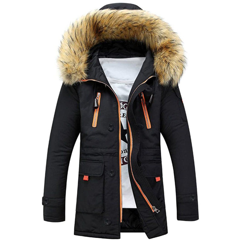 Men's Winter Hooded Down Coat Parkas Men's Clothing Black S - DailySale
