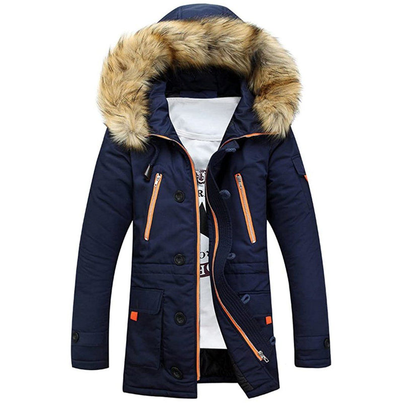 Men's Winter Hooded Down Coat Parkas Men's Clothing Navy S - DailySale