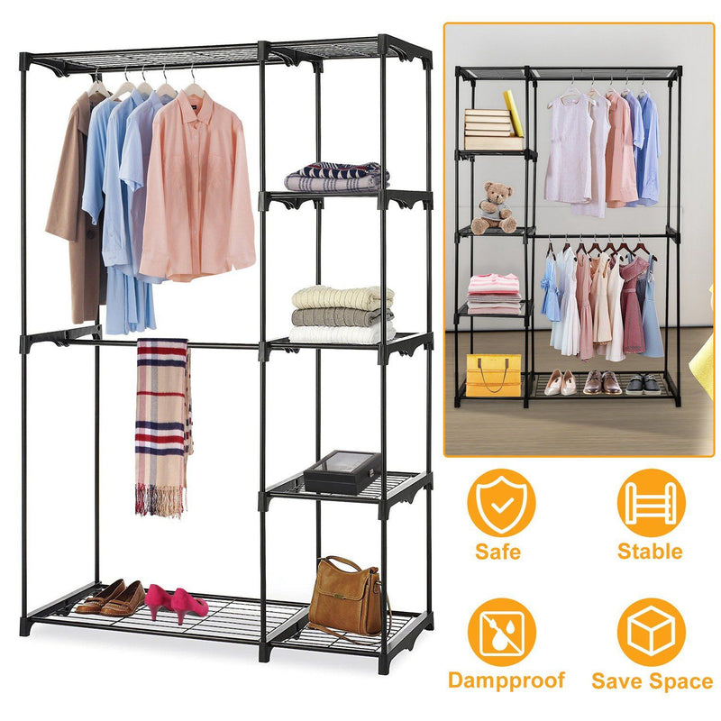 Metal Closet Deluxe Double Rod Closet & Storage - DailySale
