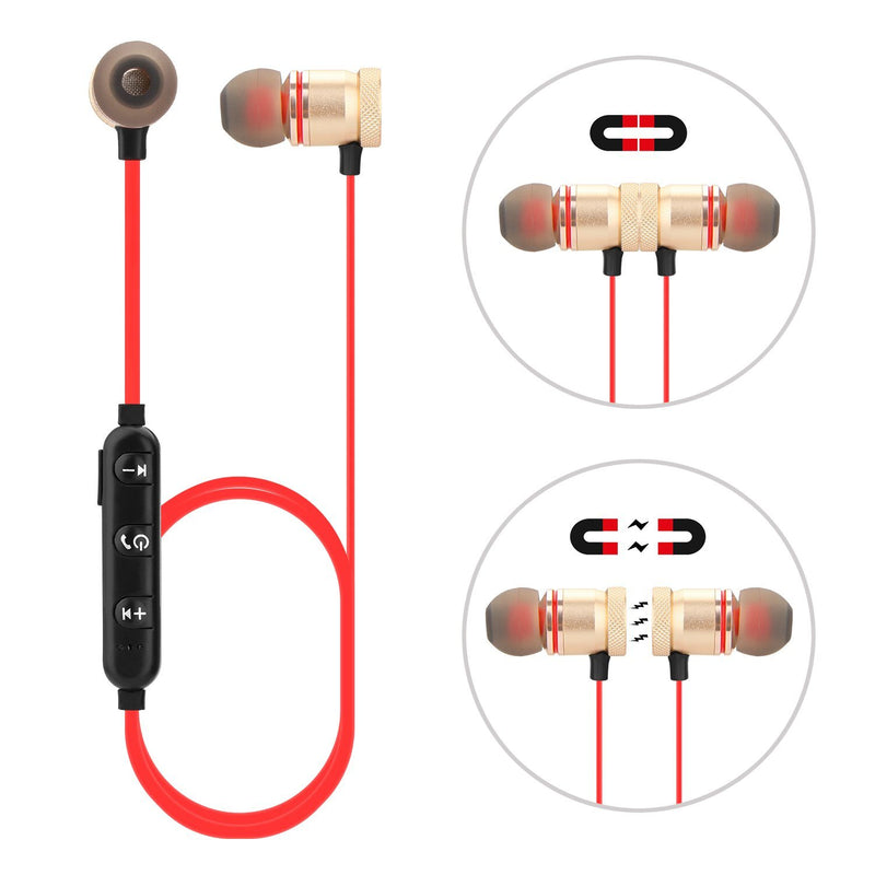 Metal Magnetic Wireless Bluetooth Earphone Sports Headset Stereo Bass Headphones - DailySale