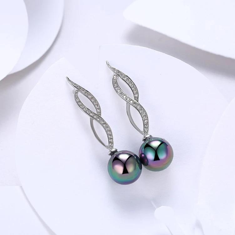Micro Pav'e Simulated Dimaond Curved Inception Akoya Pearl Dangling Earrings Set in 18K White Gold Jewelry - DailySale
