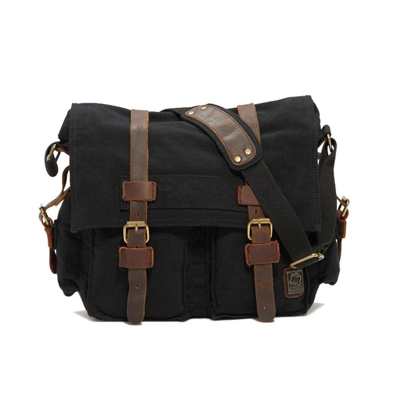 Military Vintage Canvas Crossbody Messenger Bag - Assorted Colors and Sizes Handbags & Wallets M Black - DailySale