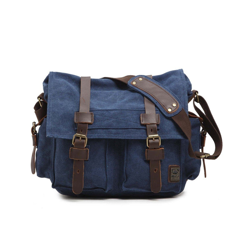 Military Vintage Canvas Crossbody Messenger Bag - Assorted Colors and Sizes Handbags & Wallets M Blue - DailySale