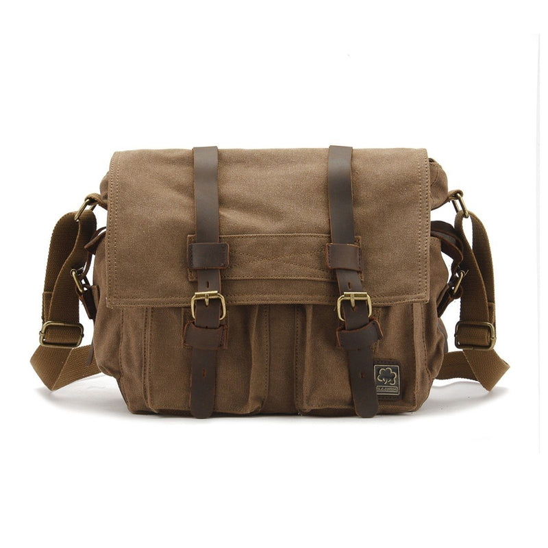 Military Vintage Canvas Crossbody Messenger Bag - Assorted Colors and Sizes Handbags & Wallets M Coffee - DailySale