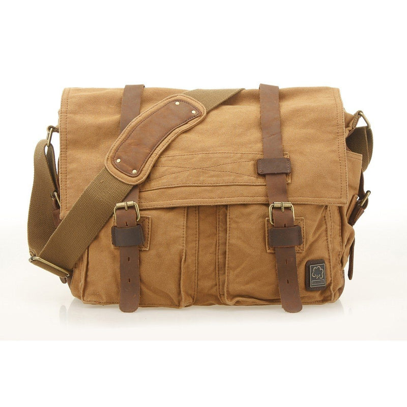 Military Vintage Canvas Crossbody Messenger Bag - Assorted Colors and Sizes Handbags & Wallets M Khaki - DailySale