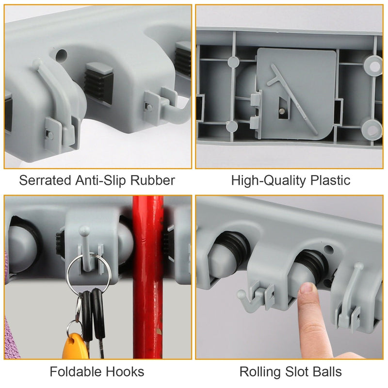Mop Holder Wall Mount Hanger Organizer Storage Closet & Storage - DailySale