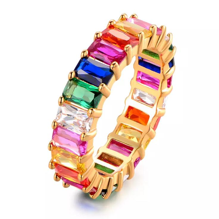 Multi-Color Eternity Ring Made with Swarovski Crystals Rings 5 - DailySale