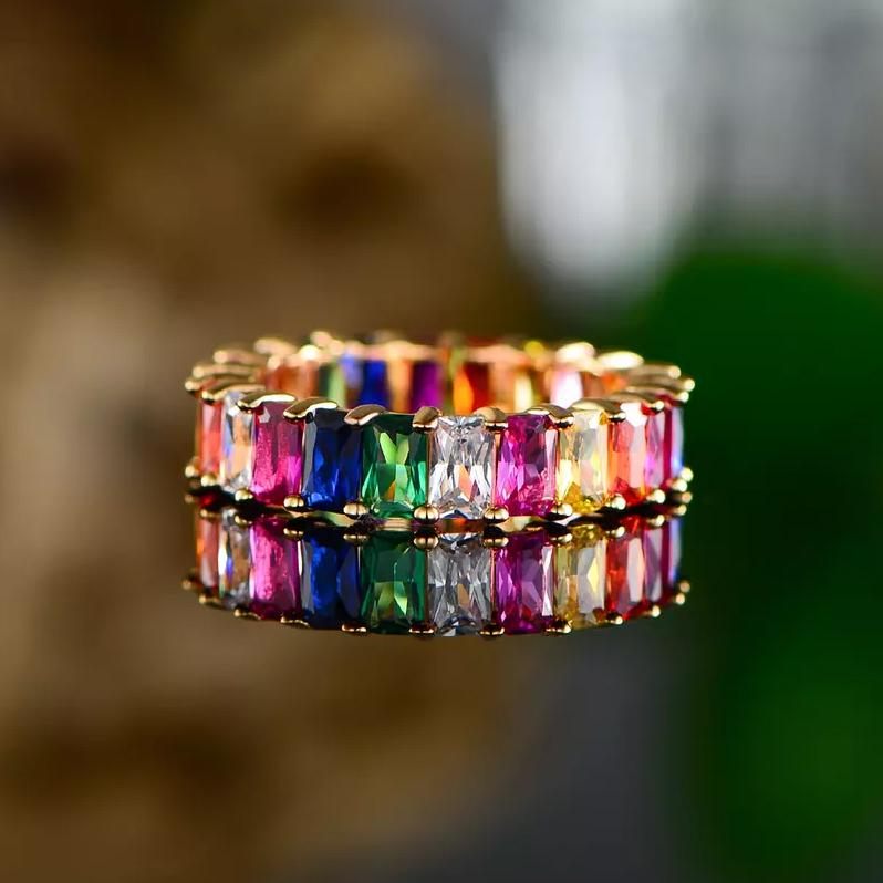 Multi-Color Eternity Ring Made with Swarovski Crystals Rings - DailySale