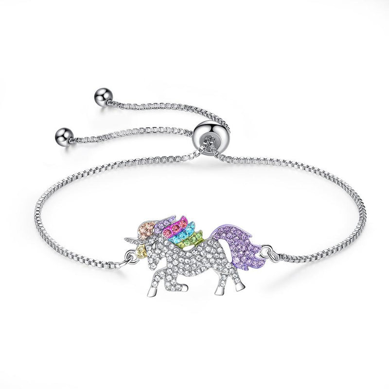 Multi-Colored Crystal Unicorn Adjustable Bracelet made with Swarovski Elements Jewelry - DailySale