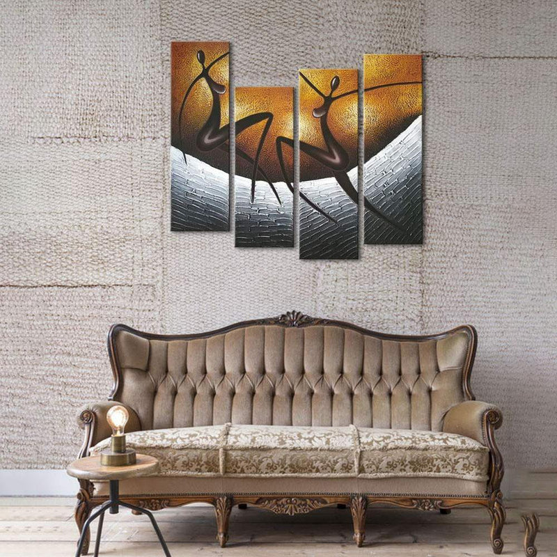 Multi-Panel Modern Abstract Paintings on Canvas Stretched on Wood Lighting & Decor African Dancers - DailySale
