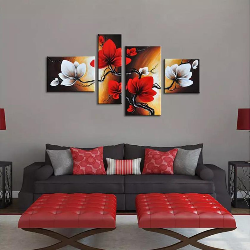 Multi-Panel Modern Abstract Paintings on Canvas Stretched on Wood Lighting & Decor Blooming Red Flowers - DailySale