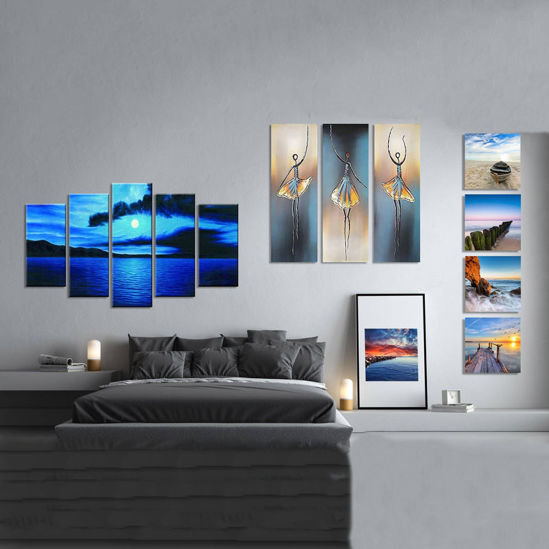 Multi-Panel Modern Abstract Paintings on Canvas Stretched on Wood Lighting & Decor - DailySale