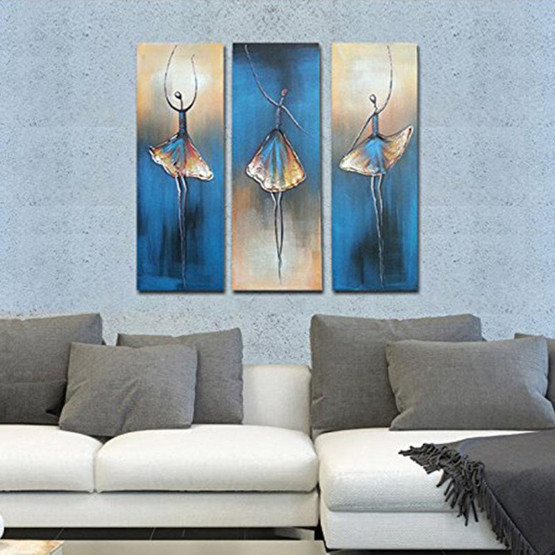 Multi-Panel Modern Abstract Paintings on Canvas Stretched on Wood Lighting & Decor Dancing Ballerina - DailySale