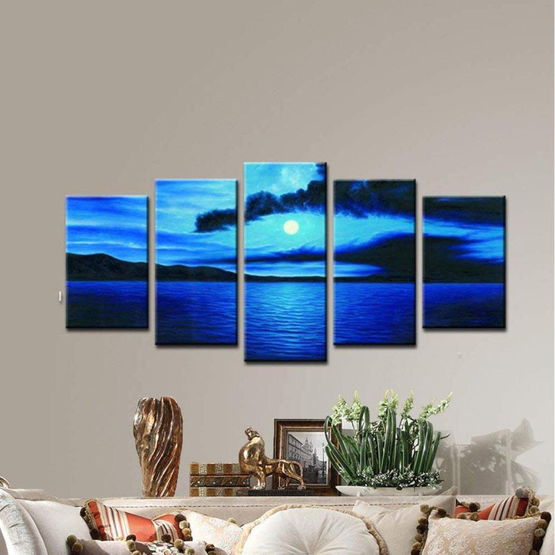 Multi-Panel Modern Abstract Paintings on Canvas Stretched on Wood Lighting & Decor Dark Blue Ocean - DailySale