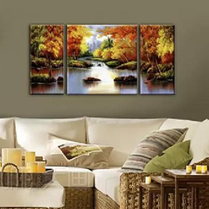 Multi-Panel Modern Abstract Paintings on Canvas Stretched on Wood Lighting & Decor Forest Trees - DailySale