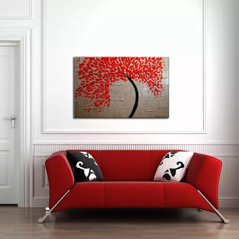 Multi-Panel Modern Abstract Paintings on Canvas Stretched on Wood Lighting & Decor Red Flowers/White Background - DailySale