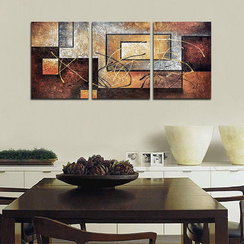 Multi-Panel Modern Abstract Paintings on Canvas Stretched on Wood Lighting & Decor Rusty Squares - DailySale