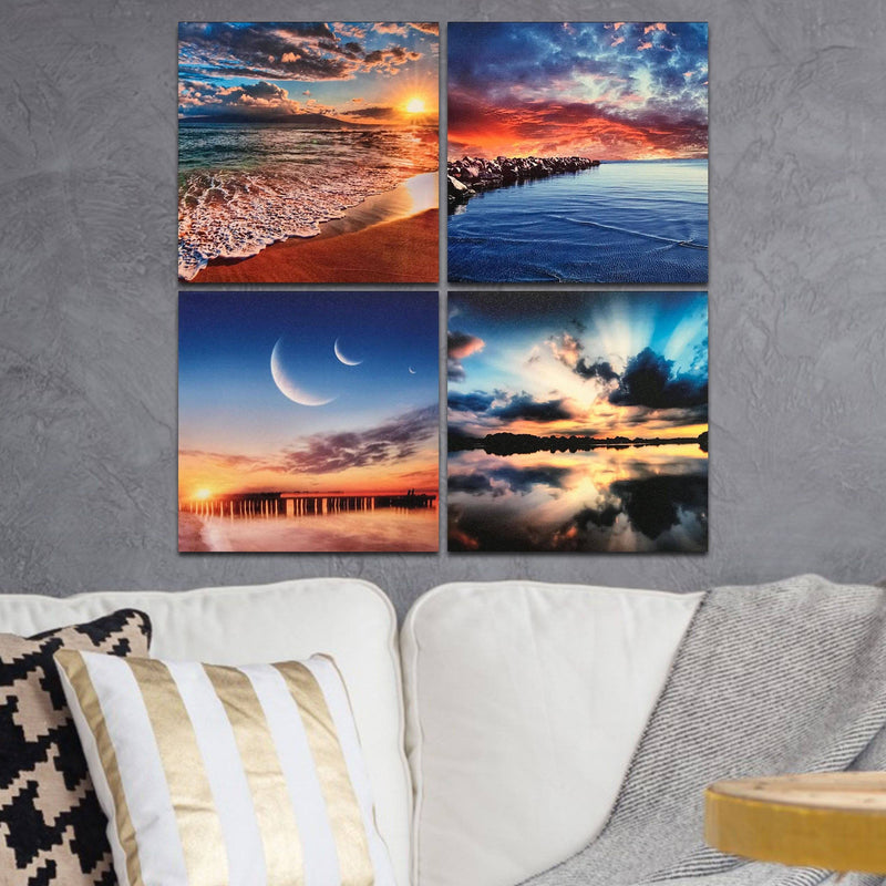 Multi-Panel Modern Abstract Paintings on Canvas Stretched on Wood Lighting & Decor Sunset and Ocean - DailySale