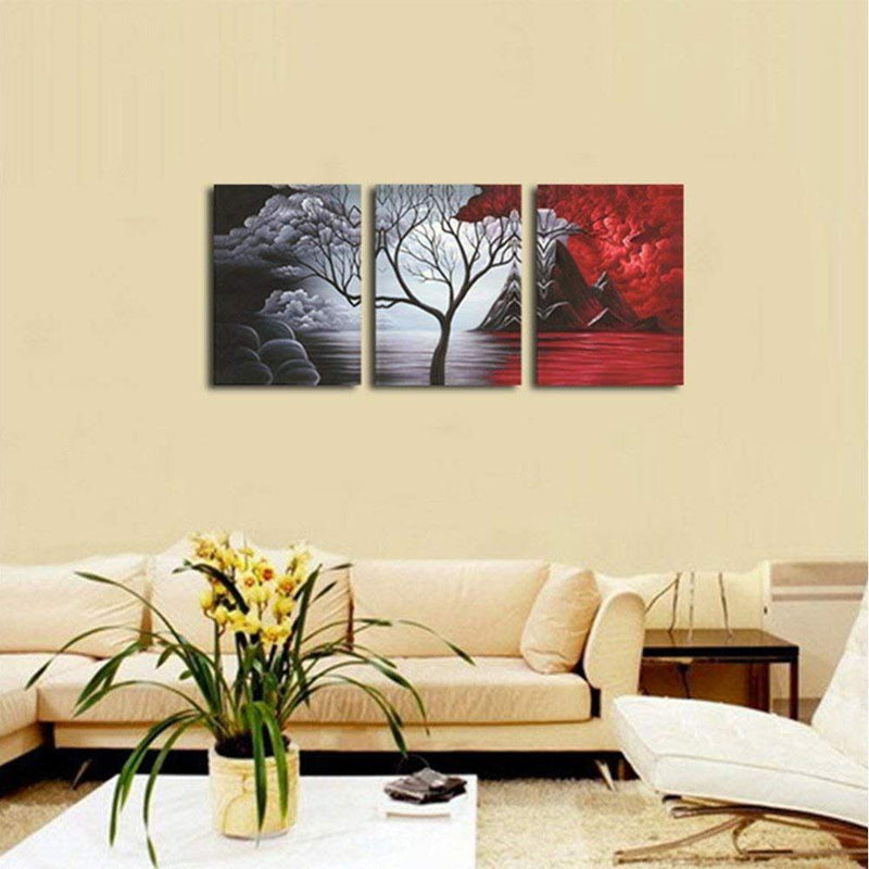 Multi-Panel Modern Abstract Paintings on Canvas Stretched on Wood Lighting & Decor The Cloud Tree - DailySale