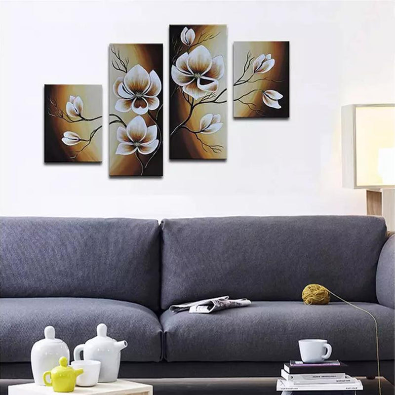 Multi-Panel Modern Abstract Paintings on Canvas Stretched on Wood Lighting & Decor Warm Day Yellow Flowers - DailySale