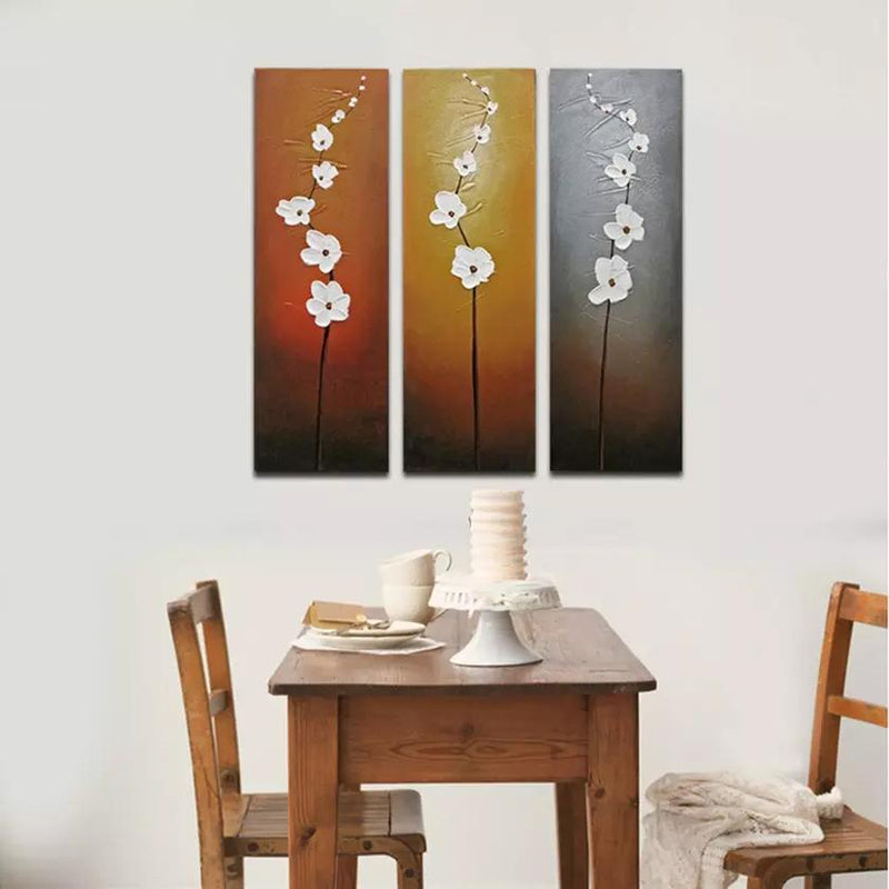 Multi-Panel Modern Abstract Paintings on Canvas Stretched on Wood Lighting & Decor White Flowers - DailySale