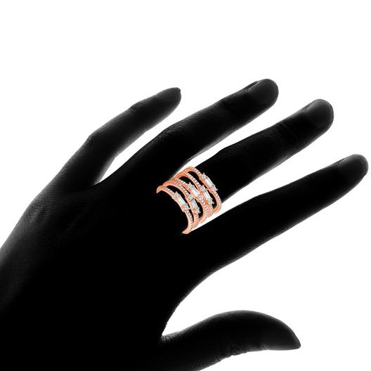 Multi Row Rose Gold Plated Ring Made with Swarovski Elements Rings - DailySale