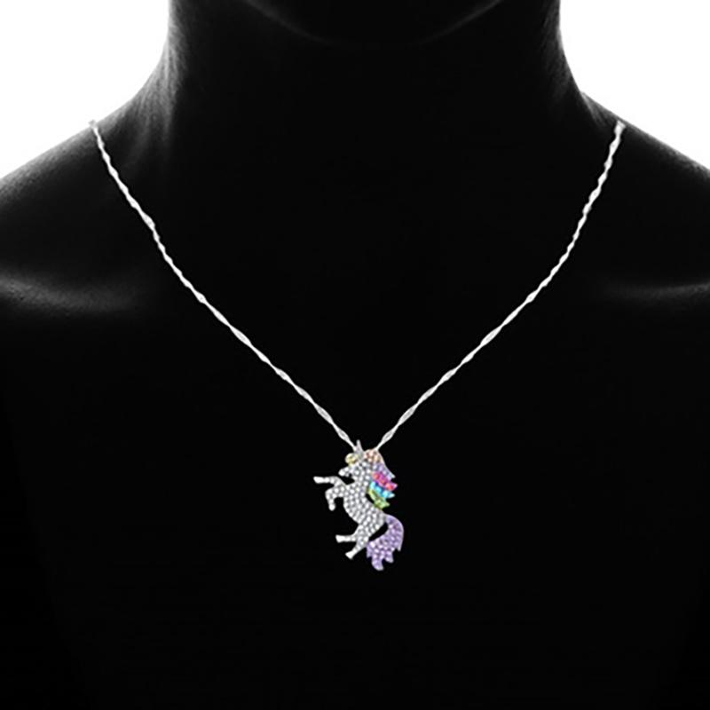 Multicolored Unicorn Pendant Necklace Made with Swarovski Elements Jewelry - DailySale