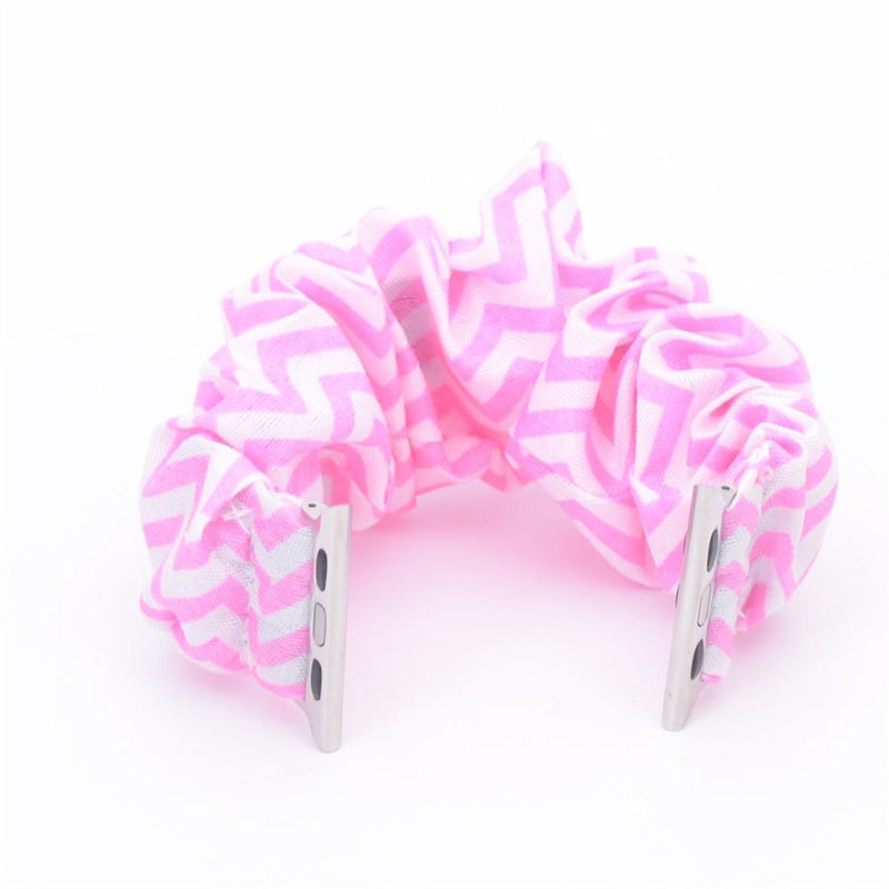 Multifunction Hair Scrunchie Apple Watch Band - Assorted Colors Gadgets & Accessories 38/40mm Pink Stripe - DailySale