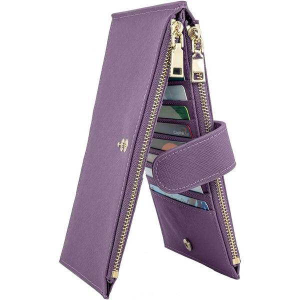 Multifunctional Leather Wallet Bags & Travel Purple - DailySale
