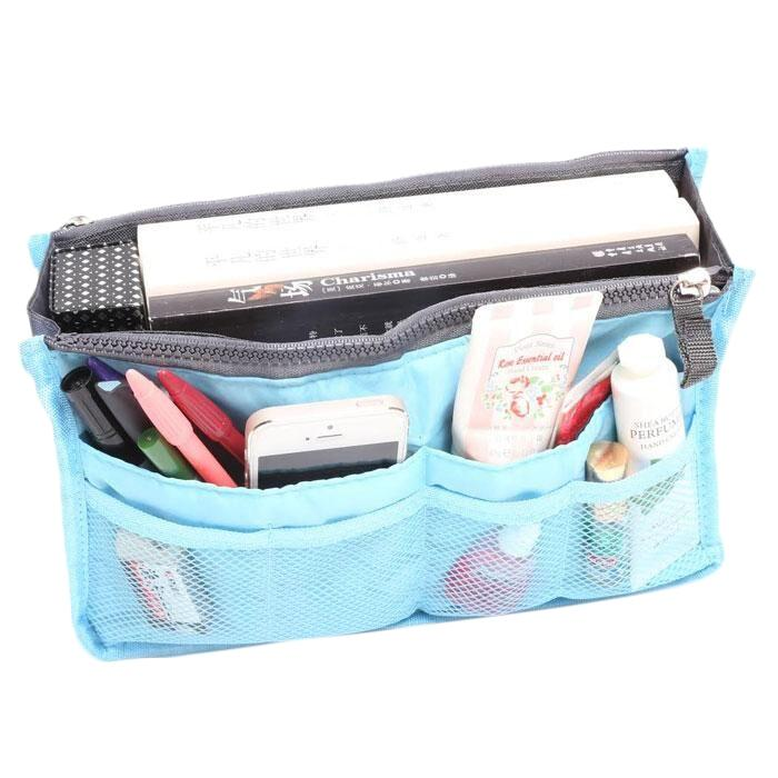 Multiple Pockets Cosmetic/Purse Organizer Bag Home Essentials Blue - DailySale
