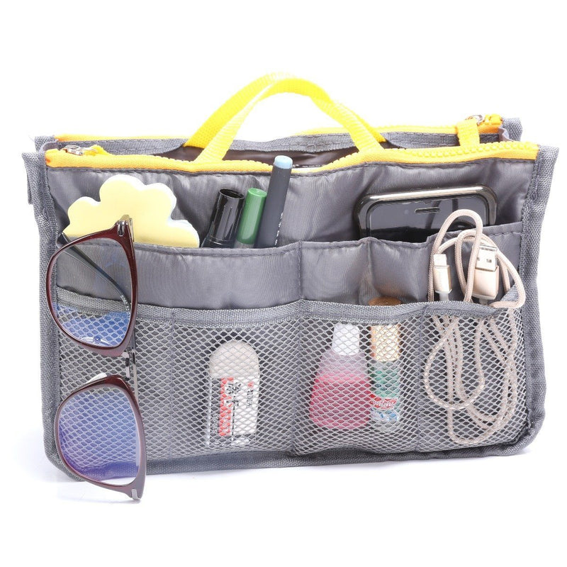 Multiple Pockets Cosmetic/Purse Organizer Bag Home Essentials Gray - DailySale