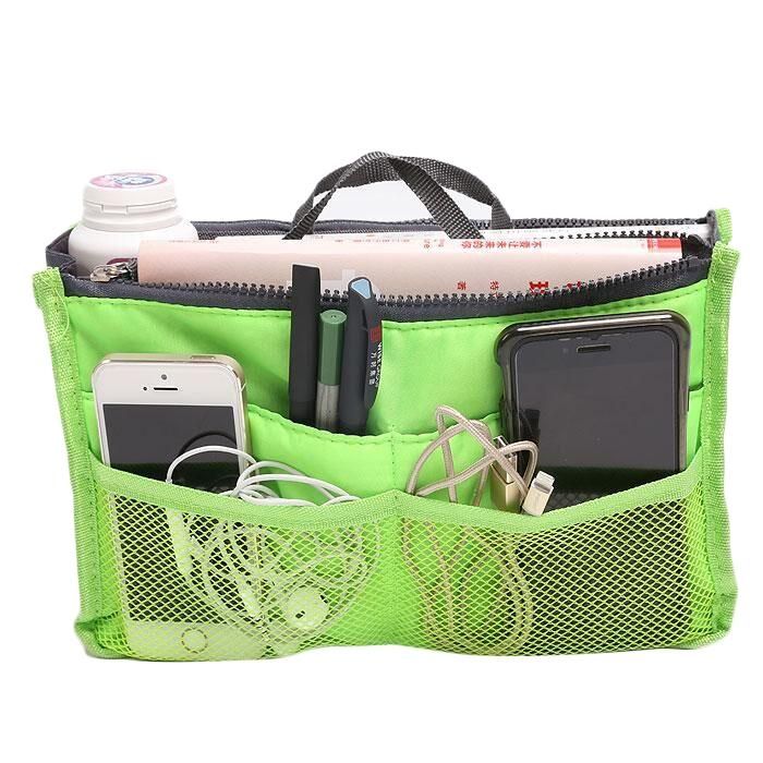 Multiple Pockets Cosmetic/Purse Organizer Bag Home Essentials Green - DailySale