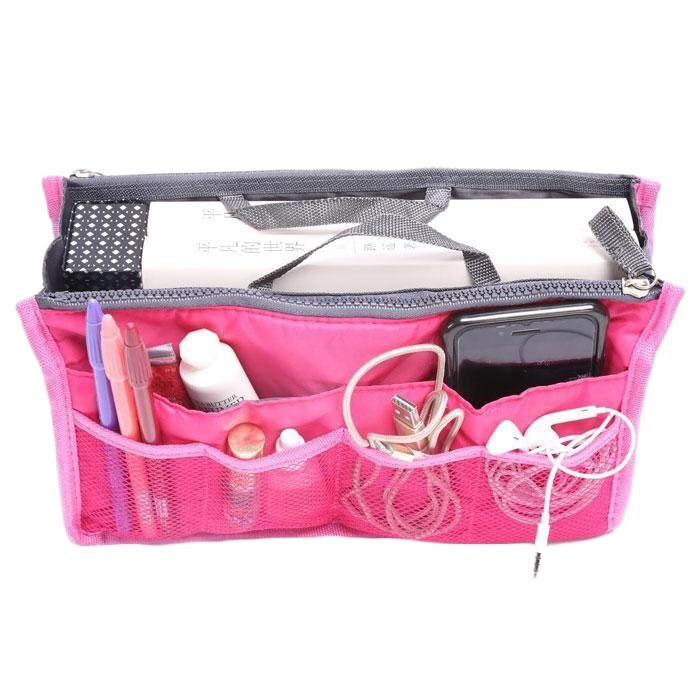 Multiple Pockets Cosmetic/Purse Organizer Bag Home Essentials Hot Pink - DailySale