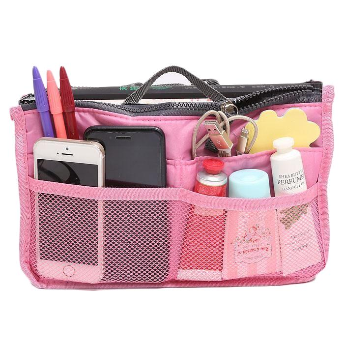 Multiple Pockets Cosmetic/Purse Organizer Bag Home Essentials Light Pink - DailySale