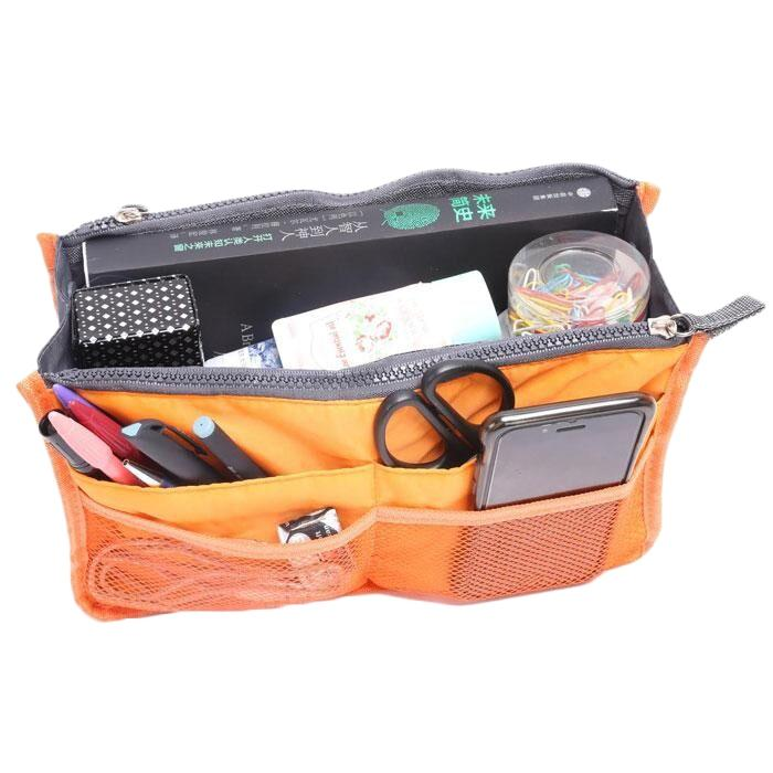 Multiple Pockets Cosmetic/Purse Organizer Bag Home Essentials Orange - DailySale