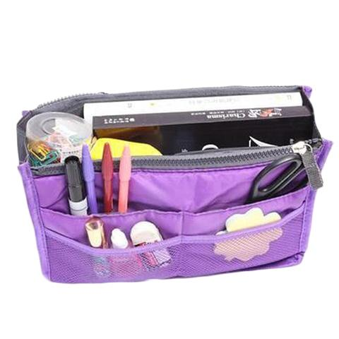 Multiple Pockets Cosmetic/Purse Organizer Bag Home Essentials Purple - DailySale