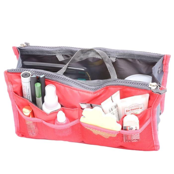 Multiple Pockets Cosmetic/Purse Organizer Bag Home Essentials Red - DailySale