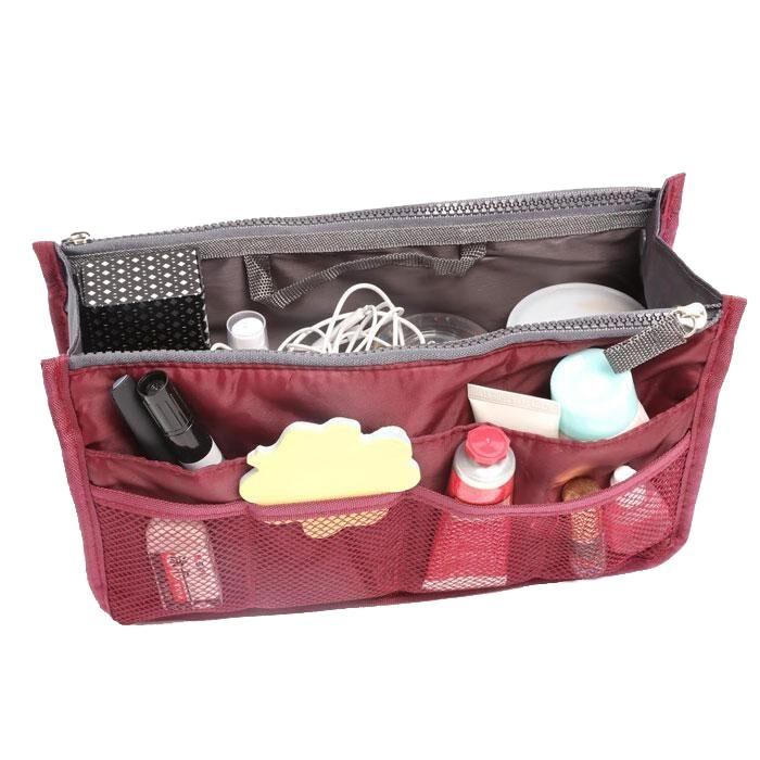 Multiple Pockets Cosmetic/Purse Organizer Bag Home Essentials Wine - DailySale
