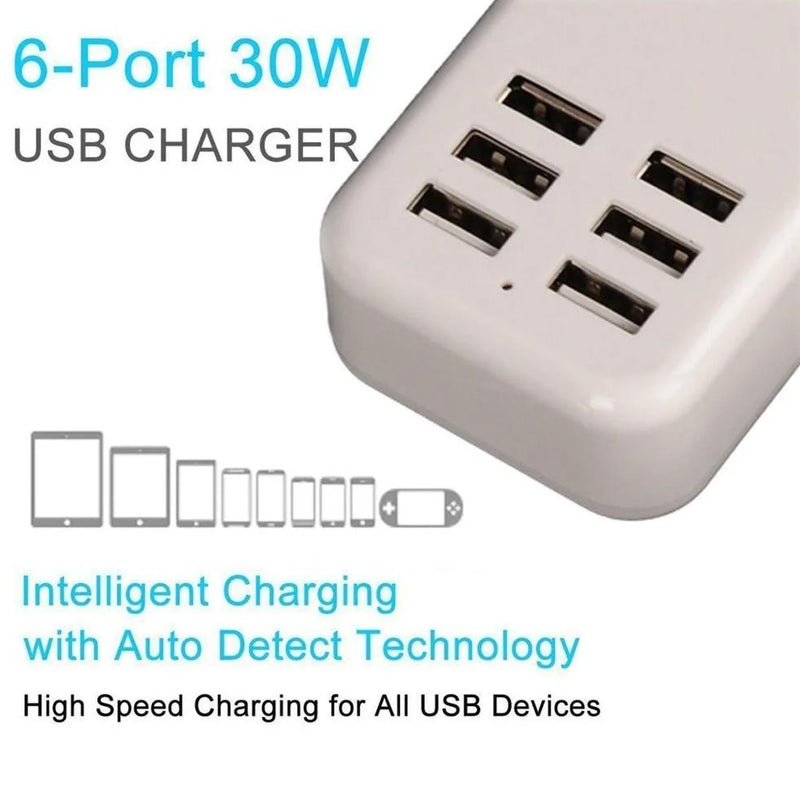 Multiport 6-USB US AC Wall Charger Gadgets & Accessories - DailySale