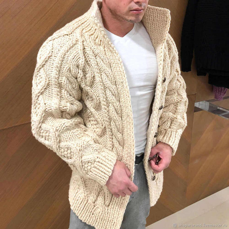 New Fashion Men's Sweater Cardigan Men's Clothing Beige S - DailySale