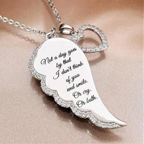 """Not a Day Goes By"" Crystal Pav'e Angel Wings Necklace Jewelry - DailySale"