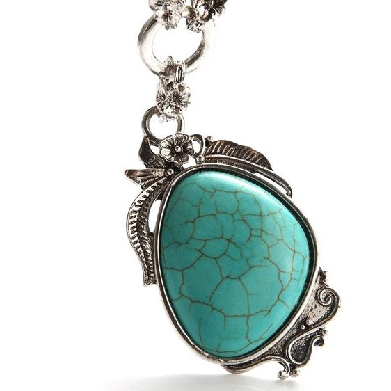 Novadab Antique Silver Tibet Turquoise Long Chain Silver Plated Necklace Necklaces - DailySale