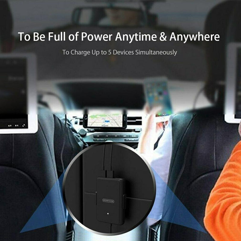 NTONPOWER 5 USB Ports Car Charger with 1.8 Extension Cable Auto Accessories - DailySale