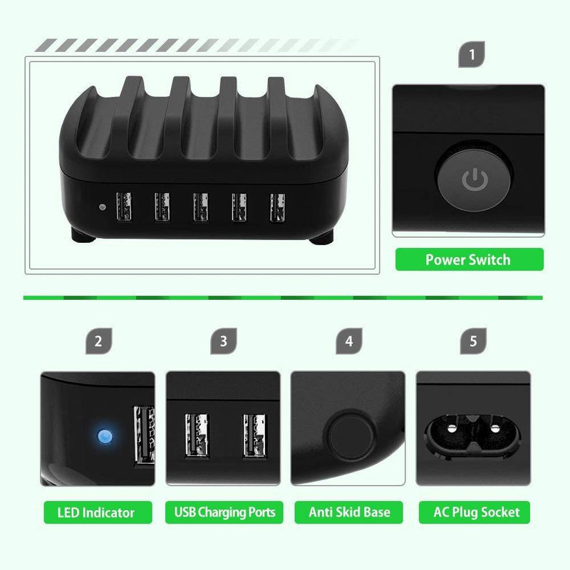 NTONPOWER Smartphone Charging Station 5 USB Ports Dock & Organizer Phones & Accessories - DailySale