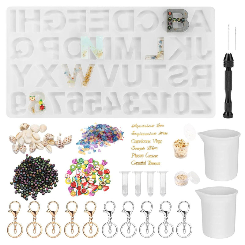 Numbers Alphabet Mold for DIY Craft Casting with Resin Decoration Fillers Set Kit Everything Else - DailySale