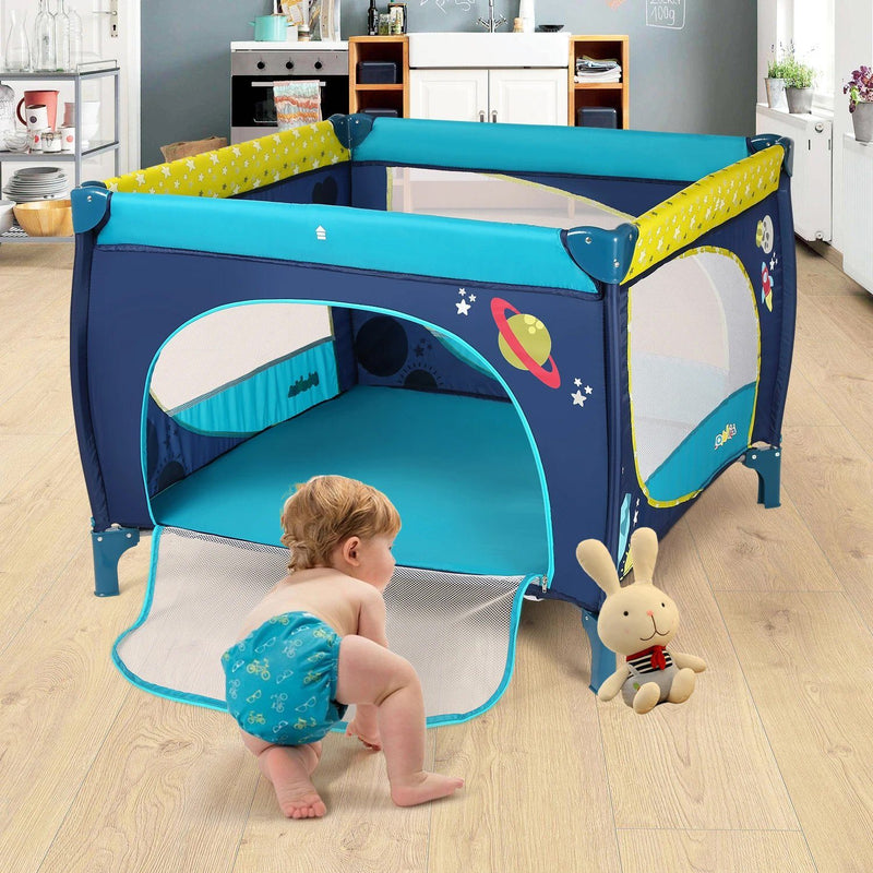Odoland 39''x 39'' Infant Toddler Foldable Playpen Playard With Mattress Rail Fence Blue Baby - DailySale