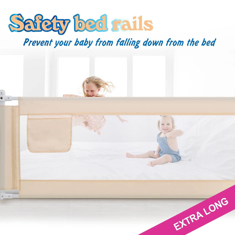Odoland 70in Foldable Baby Toddler Safety Bed Rail Anti Falling Guard Baby - DailySale