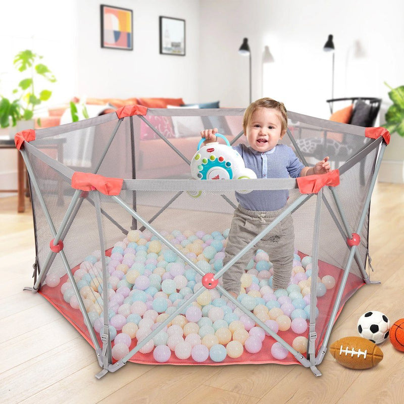 Odoland Safety Portable Playpen Infants Toddler Fence Baby - DailySale