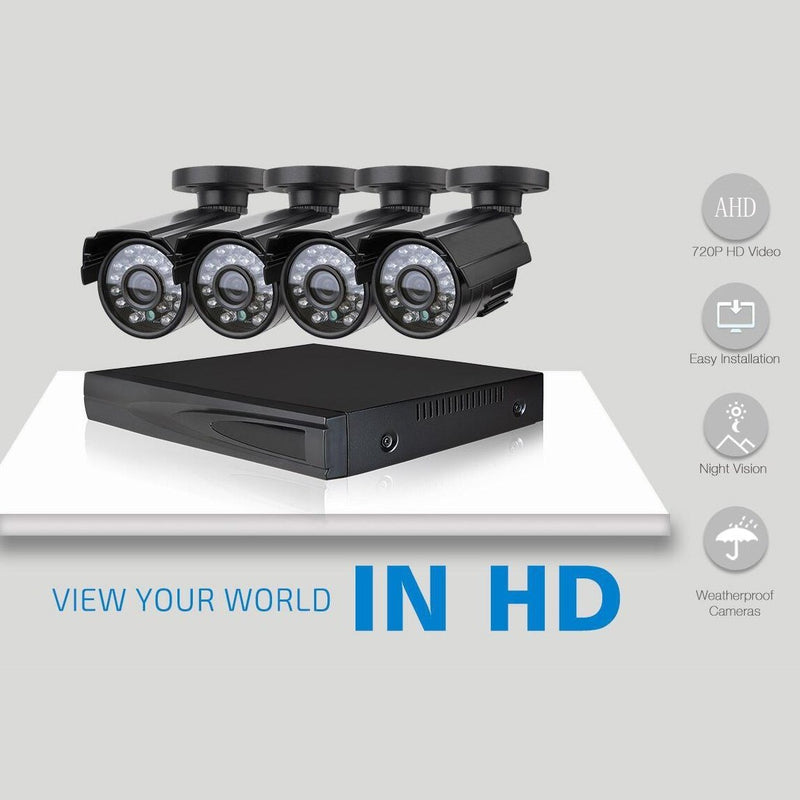 Outdoor AHD Home Security 4 Camera and DVR System Gadgets & Accessories - DailySale