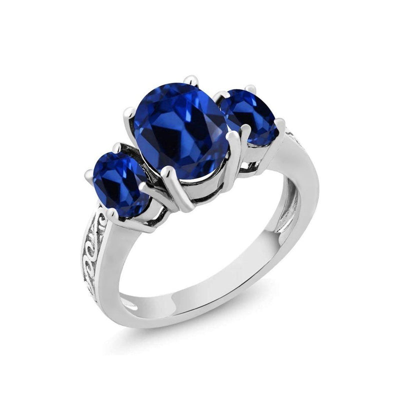Oval Cut Tri Stone Blue Topaz Ring - Assorted Sizes Jewelry 9 - DailySale